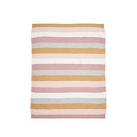 image-Mamas & Papas Knitted Blanket - Multi Stripe Pink