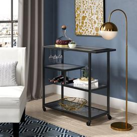image-Serving Cart Williston Forge Frame Colour: Black/Smoky Grey