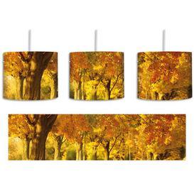 image-Autumn Landscape 1-Light Drum Pendant East Urban Home Shade Colour: Yellow/Brown