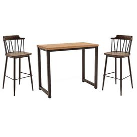 image-Hinrik Wooden Bar Table With 2 Blake Bar Stools In Rustic Elm