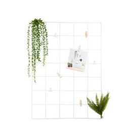 image-White Metal Grid Montage Frame with Artificial Plants 50x70