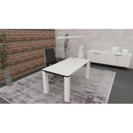 image-Bridgett Writing Desk Ebern Designs Colour (Top/Frame): White/White, Size: 73.5cm H x 180cm W x 100cm D