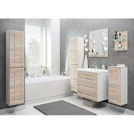image-Hashimoto 5 Piece 60mm Bathroom Furniture Suite with Mirror Ebern Designs Furniture Finish (Front / Body): Sonoma/White
