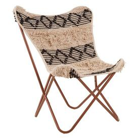 image-Cafenos Butterfly Cotton Fabric Bedroom Chair With Metal Frame