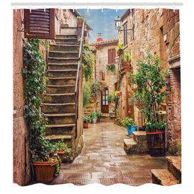 image-Street with Plants Shower Curtain East Urban Home