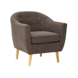 image-Morrill Woven Fabric Accent Chair In Graphite With Oak Legs