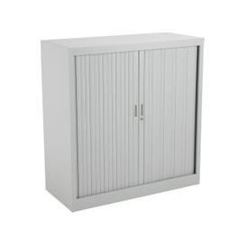 image-Value Line Metal Tambour Door Cupboards , 2 Shelf - 100wx45dx105h (cm), Grey