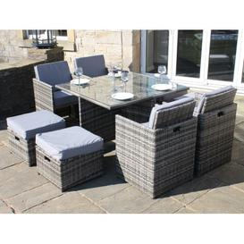 image-All Weather Rattan Garden Furniture Deluxe 9 Cube Set