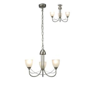 image-Cooper 3 Light Ceiling Pendant/Semi Flush Light In Satin Nickel