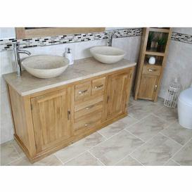 image-Debord Solid Oak 1430mm Free-Standing Vanity Unit Belfry Bathroom