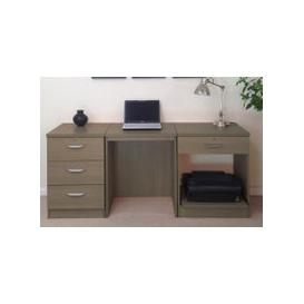 image-Small Office Desk Set With 3 Media Drawers, 1 Standard Drawer & Printer Shelf (English Oak)