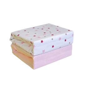 image-Magical Stars Cot Sheets HoneyBee Nursery Colour: Pink
