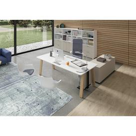 image-Lauri Writing Desk Ebern Designs Colour: White , Size: 75cm H x 200cm W x 60cm D