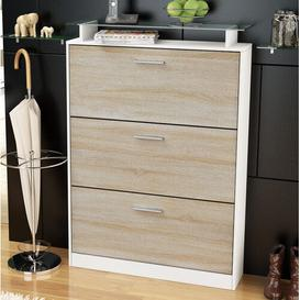 image-Lavia 24 Pair Shoe Storage Cabinet Vladon Finish: Oak/White (matt), Lighting included: No