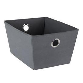 image-Tapered Fabric Grey Storage Basket Grey