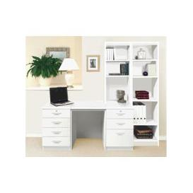 image-Small Office Desk Set With 4+3 Drawers & Bookcases (White)