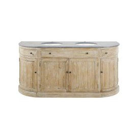 image-Blue Stone and Recycled Pine Double Vanity Unit Leonce