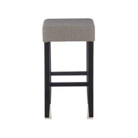 image-Serene Lantana Light Grey Fabric Barstool with Black Legs (Set of 2)