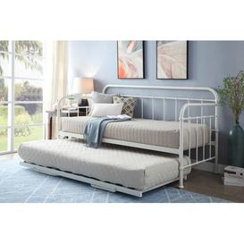 image-Mitre Daybed with Trundle Williston Forge Colour: White, Size: 12cm Single Memory Foam