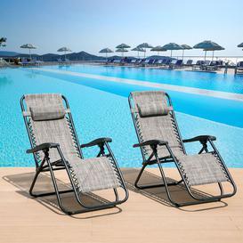 image-Set Of 2 Heavy Duty Zero Gravity Chairs Garden Outdoor Patio Sun Loungers Folding Reclining Chairs