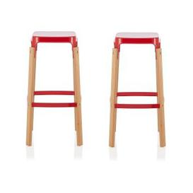 image-Hoker 66cm Bar Stools In Glossy Red In A Pair