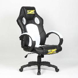 image-High-Back Mesh Gaming Chair Symple Stuff Colour: White / Black