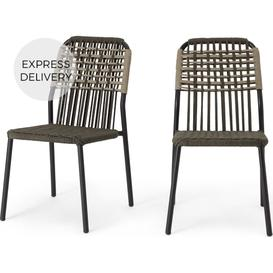 image-Bosco Garden set of 2 Garden Dining Chairs, Green and Taupe
