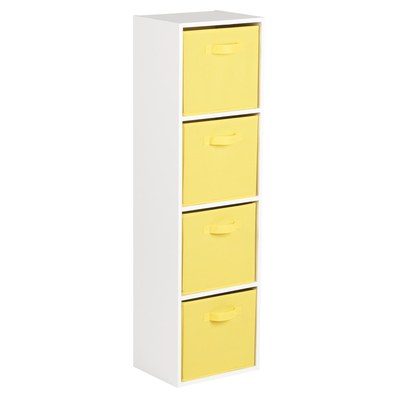 image-Hartleys White 4 Tier Cube Storage Unit & 4 Handled Box Drawers - Yellow