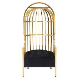 image-Annali Black Velvet Seat Gold Cage Design Occasional Chair
