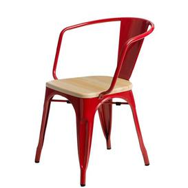 image-Dining Chair Williston Forge Frame/Seat Colour: Red/Natural