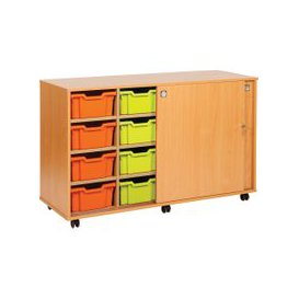 image-14 Tray Storage Unit With Sliding Door, Lime, Free Standard Delivery