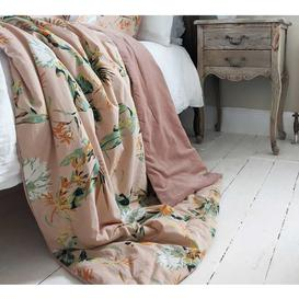 image-Apricity Pink Cotton Velvet Quilted Bedspread - Luxury Quilted...