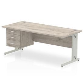 image-Zetta Executive Desk Ebern Designs Size: 73cm H x 180cm W x 80cm D, Frame Colour: Grey