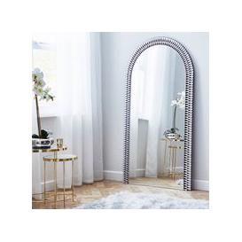 image-Glam Gem Edge Arched Leaner Mirror 80x150cm Silver