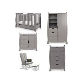 image-Obaby Stamford Luxe Cot Bed 5 Piece Nursery Furniture Set - Warm Grey