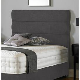 image-Shania Upholstered Headboard Ebern Designs Size: Small Double (4'), Upholstery: Plush Velvet Steel
