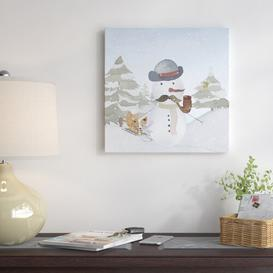 image-'Winter Wonderland Christmas Snowman & Fox' by Grap My Art - Wrapped Canvas Graphic Art Print East Urban Home Size: 41cm H x 41cm W x 4cm D