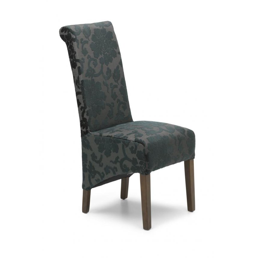 image-Krista Baroque Charcoal Chair Dark Legs set of 2