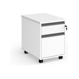 image-Value Line Classic+ 2 Drawer Mobile Pedestal (Graphite Slats), White, Free Standard Delivery