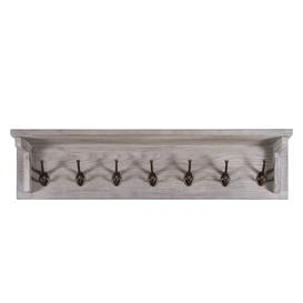 image-Vancouver Sawn Solid Oak Weathered Grey Furniture Coat Rack with 7 Hooks