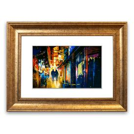 image-'City Night Lights' Framed Graphic Art East Urban Home Size: 93 cm H x 126 cm W, Frame Options: Gold