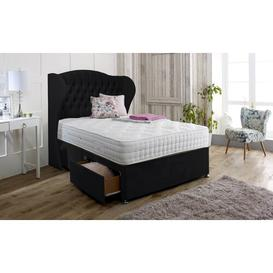 image-Dianna Upholstered Divan Bed and Headboard Marlow Home Co. Colour: Ebony, Size: Super King (6'), Storage Type: No Drawer