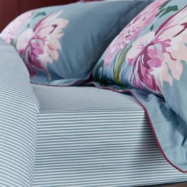 image-Joules Melrose Floral Blue 100% Cotton Fitted Sheet Light Blue