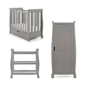 image-Stamford Space Saver Cot 3 Piece Nursery Furniture Set Obaby Colour: Taupe Grey