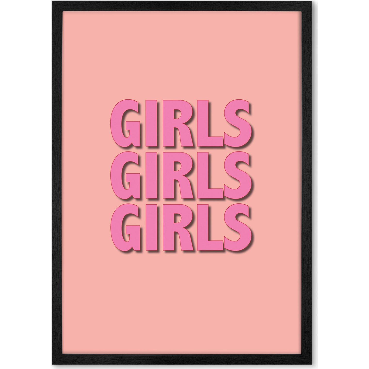 image-Girls Girls Girls Framed Wall Art Print A3, Pink
