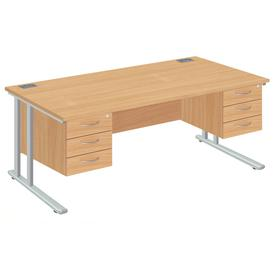 image-Proteus II Executive Desk 3+3 Drawers, 180wx80dx73h (cm), White/Oak