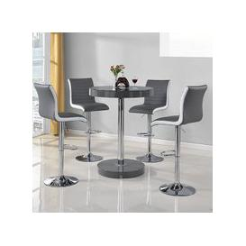 image-Havana Bar Table In Grey With 4 Ritz Grey And White Bar Stools
