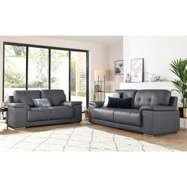 image-Kansas Grey Leather 3+2 Seater Sofa Set