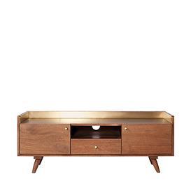 image-Swoon Fresco Media Unit, Scandi Style in Light Brown Mango Wood