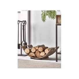 image-Round Rattan Log Basket - Curved